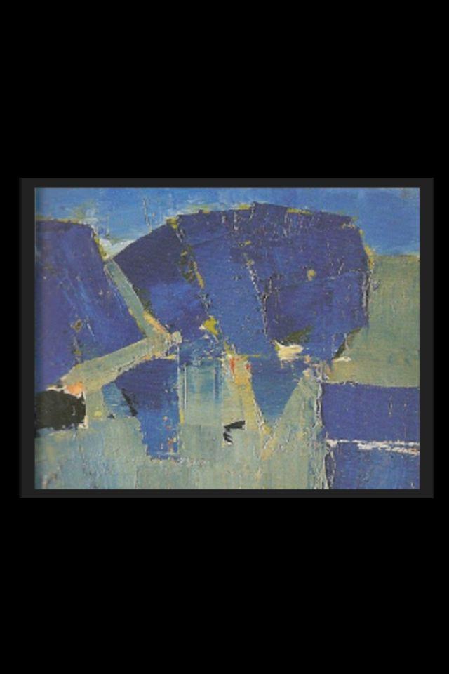 """Nicolas De Staël - """" Arbres """", 1953 - Huile sur toile - 22 x 33 cm"""