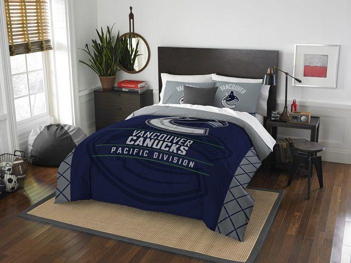 Vancouver Canucks NHL Draft Full-Queen Comforter Set. Includes 2 Shams and Comforter.  Visit SportsFansPlus.com for Details.