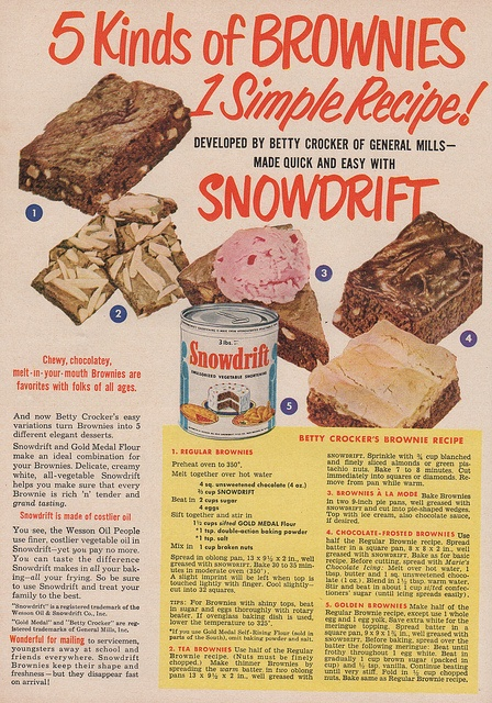 Brownie recipe from Betty Crocker. Snowdrift shortening ad, Sunset magazine, October 1951