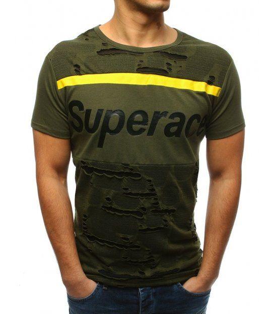 e564b23f3022 Zelené pánske tričko s potlačou in 2019
