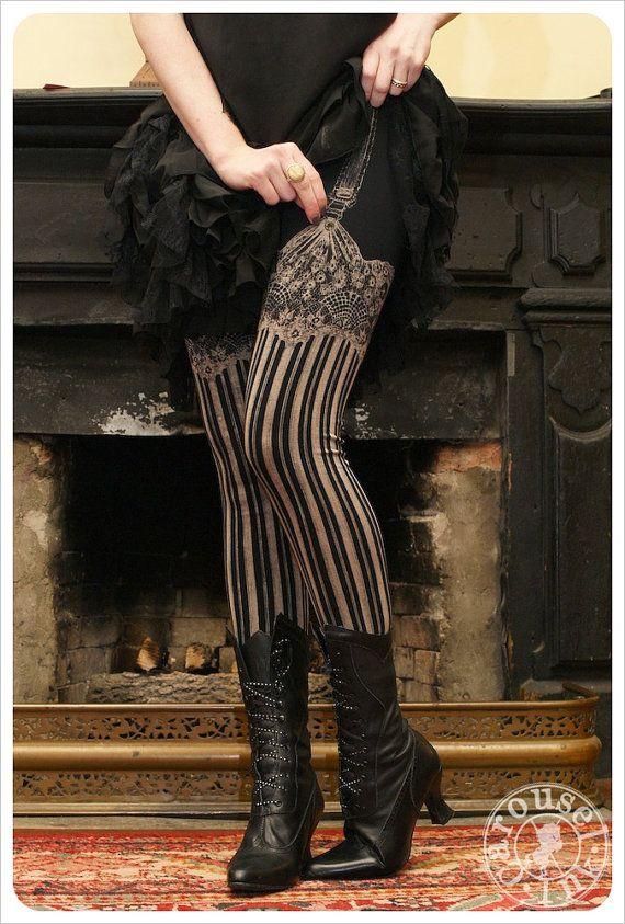 These are faux garter leggings!  Burlesque  Womens Legging  BLACK  by Carouselink, $32.00