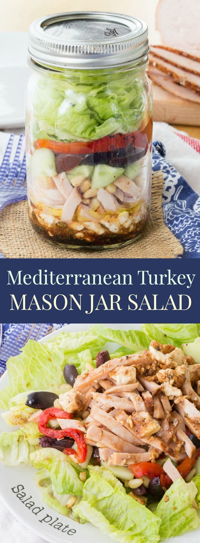 Mediterranean Turkey Mason Jar Salad - layer a simple salad dressing, feta cheese, turkey, veggies, and more for an easy and portable lunch recipe with @jennieorecipes. Gluten free and low carb. #ad | cupcakesandkalechips.com