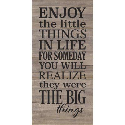 Artistic Reflections 'Enjoy The Little Things in Life' Textual Art on Wood in Gray