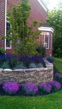 English garden foundation plants wall planting may be for Plants for landscaping around house
