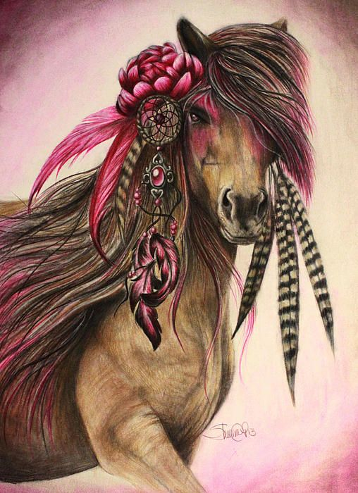 www.facebook.com/... By: Sheena Pike ~ ART ~ coloured pencil, PanPastels Art. Horse, Pink horse, feathers, Horse ART, Peony, dream catcher, Warrior - This piece can be purchased on my website...please visit! sheena-pike.artis... and thank you for the Pin...I appreciate the exposure. (copyright of SheenaPikeArt )