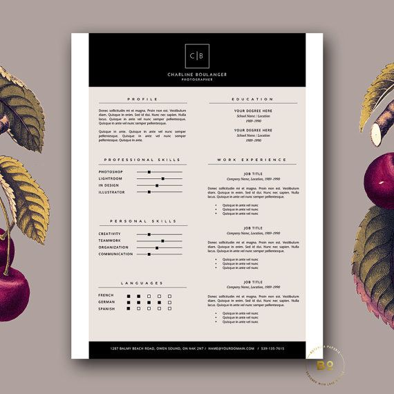 resume template creative resume and cover letter template modern cv design instant download