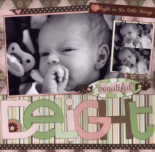Delight: Nice Baby, Colors Choice, Baby Delight, Newborns Scrapbook, Baby Layout, Baby Girls, Delight 3 Bugs, Nice Colors, Newborns Baby Scrapbook Layout
