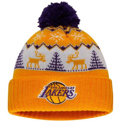 Men's adidas Gold Los Angeles Lakers Snowflake Cuffed Knit Hat with Pom