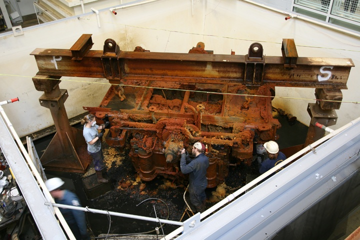 Archaeological Conservators treating the engine of the USS Monitor