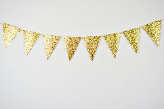 Glitter Gold Banner, Gold Bridal Shower, goldene Dreieck Fahnenbanner, Baby-Dusche, Party Banner, Gold Wimpel Banner, Gold Kindergarten Garland
