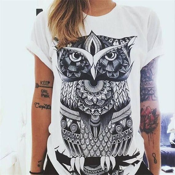 Tribal Boho owl tshirt women's t-shirt white tee retro