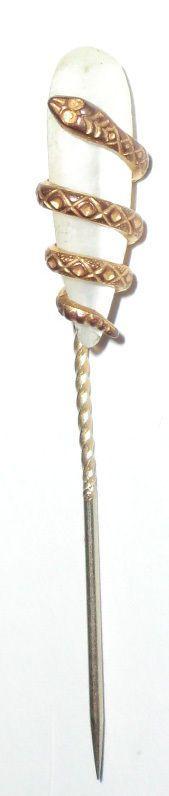 Antique Vintage mythological Snake Serpent Stick Hat Lapel Pin Mother Pearl 1 | eBay