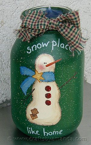 Snowman Painted Jar: Snow Place Like Home - pattern by Amanda Formaro, CraftsbyAmanda.com