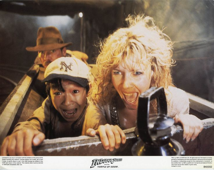 "Harrison Ford as #IndianaJones, Jonathan Ke Quan as Short Round & Kate Capshaw as Wilhelmina ""Willie"" Scott in The Temple of Doom (1984)."