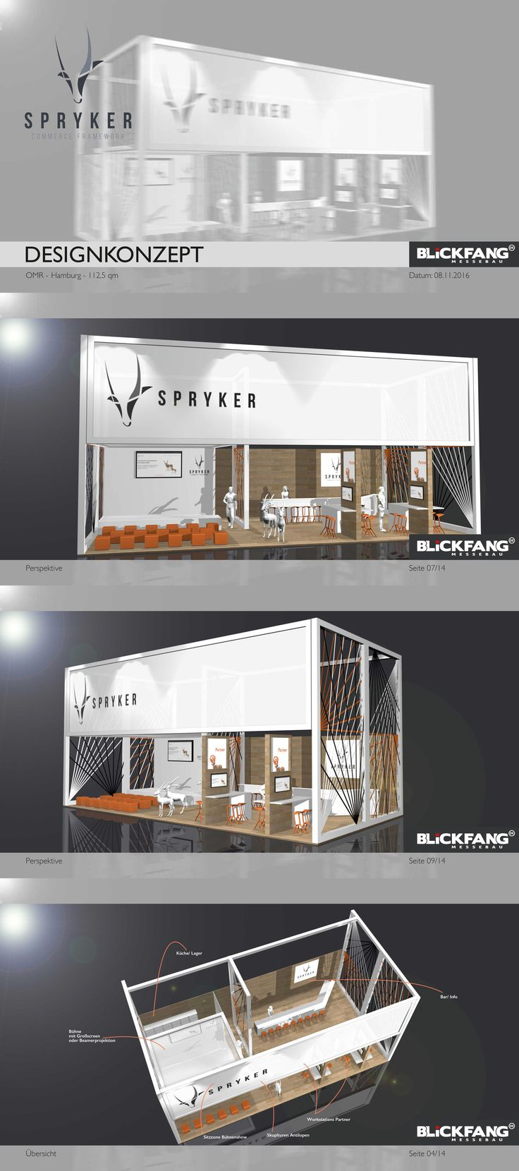 Entwurf für Spryker OMR in Hamburg #booth #Messestand #design #architektur