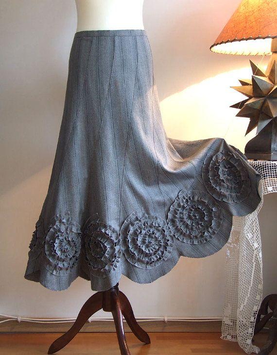 Skirt with rosettes in gray pinstripes, prairie skirt, office skirt, fall autumn skirt, boho skirt