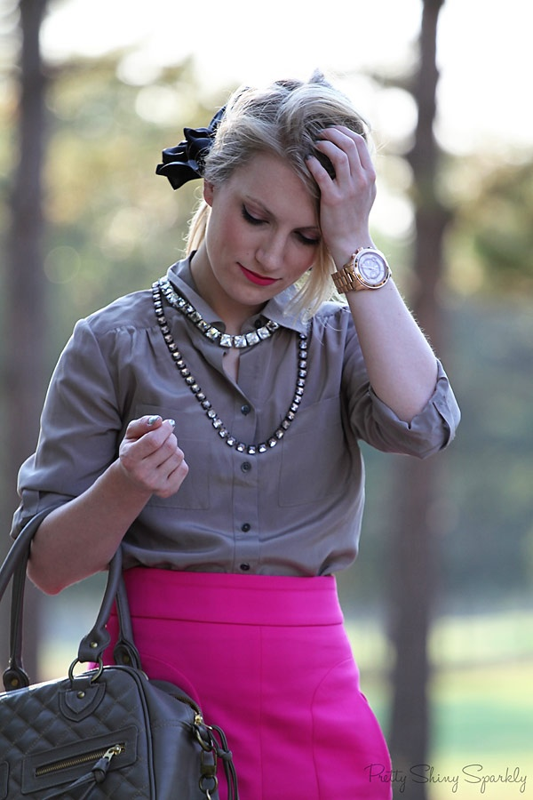 Pink skirt, khaki blouse | Pretty Shiny Sparkly