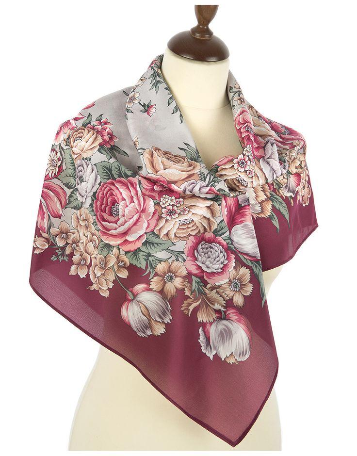 Silk shawl ''Flowers for the Darling'' | RusClothing.com  #silk #floral #pattern #scarf #kerchief #headscarf #shawl