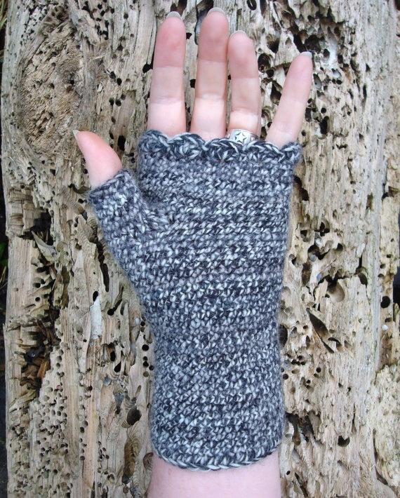 Tweedy Black Wool Wrist Warmers Fingerless Gloves Crochet Made in Ireland. $22.00, via Etsy.