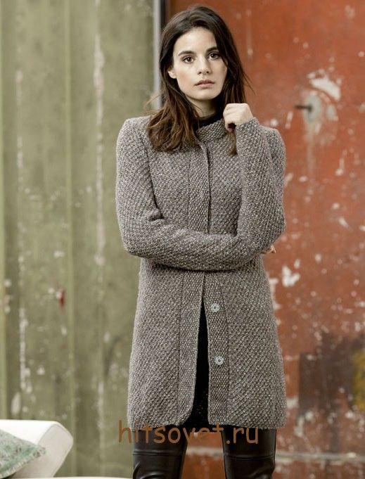 Вязаное пальто спицами для начинающих, фото 1.