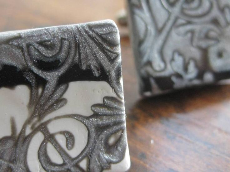 Polymer Clay baroque  Black and white CUFF LINKS