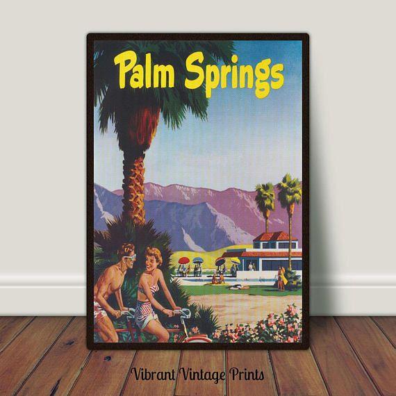 Palm Springs California Palm Trees Retro Vintage Travel