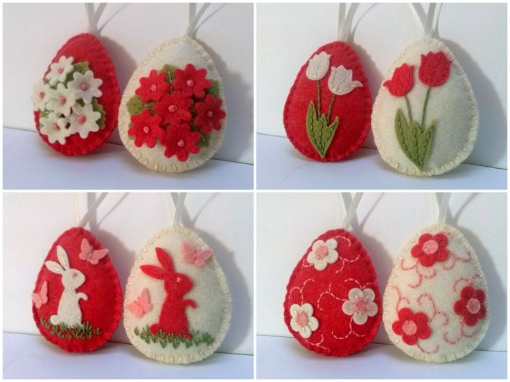 Felt easter decoration felt egg with bunny and by DusiCrafts