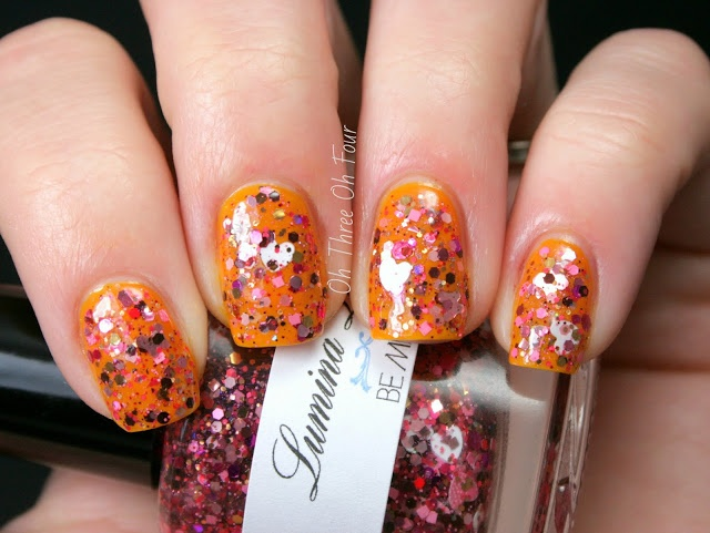 Lumina Lacquer Be Mine over Flower Cosmetics Eye Of The Tiger Lily