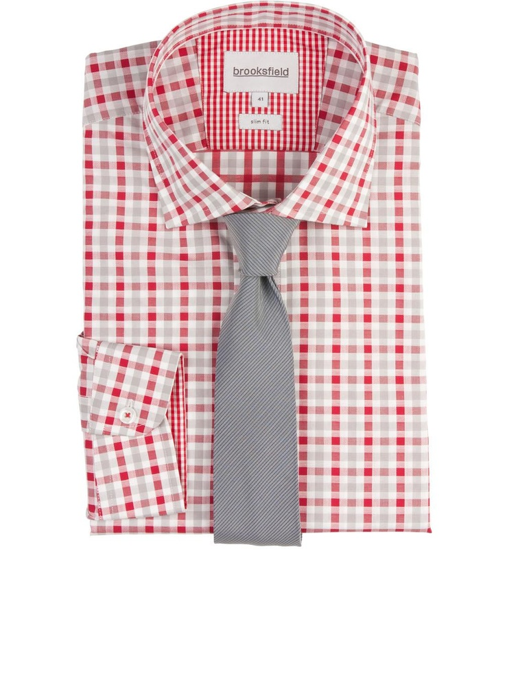 brooksfield Ratio Check Business Shirt in red.