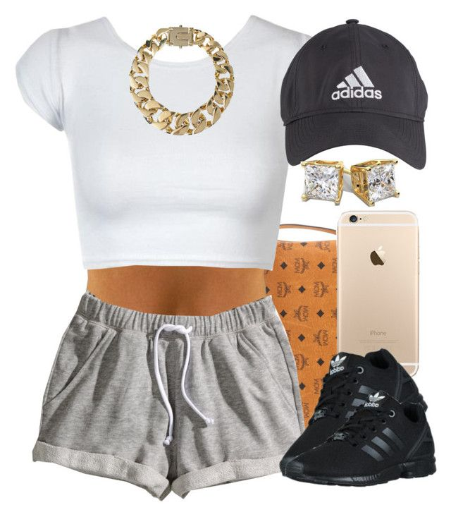 """""""Out."""" by livelifefreelyy ❤ liked on Polyvore featuring MCM, H&M, adidas Originals, adidas, AllSaints, women's clothing, women's fashion, women, female and woman"""