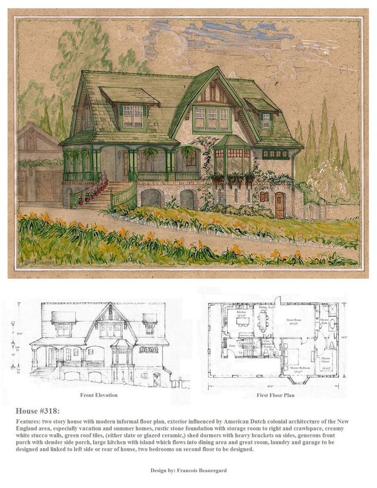 Front Elevation Antiques : Watercolor perspective drawing front elevation and first