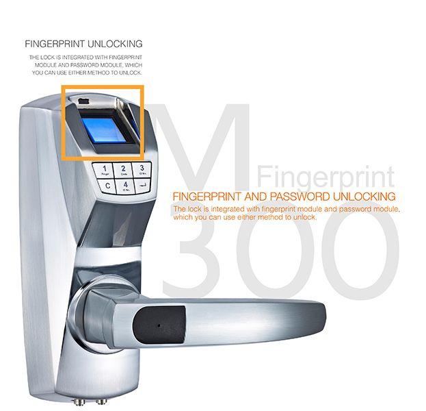 M300 high security fingerprint electronic door lock with password unlock