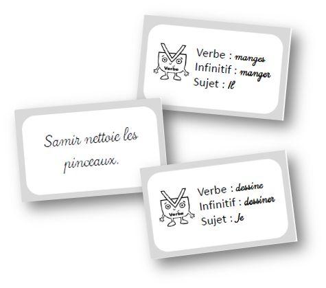Voici un petit jeu de cartes pour que les élèves s'entrainent à trouver le verbe et à donner son infinitif et son sujet.     Il comporte 16 ...