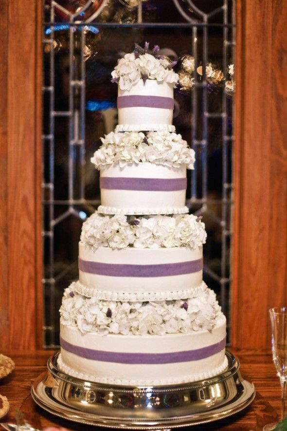 White & Purple Wedding Cake, pretty!   Photo by Number 9 Photography, Cake by Sophie's Choice Bakery