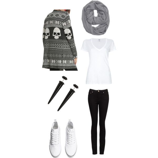 Black gray and white skull cardigan indie scene winter outfit