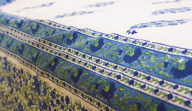 Printed Cotton Sheets - Blue Bedspreads - Hand Block Printed from Attiser