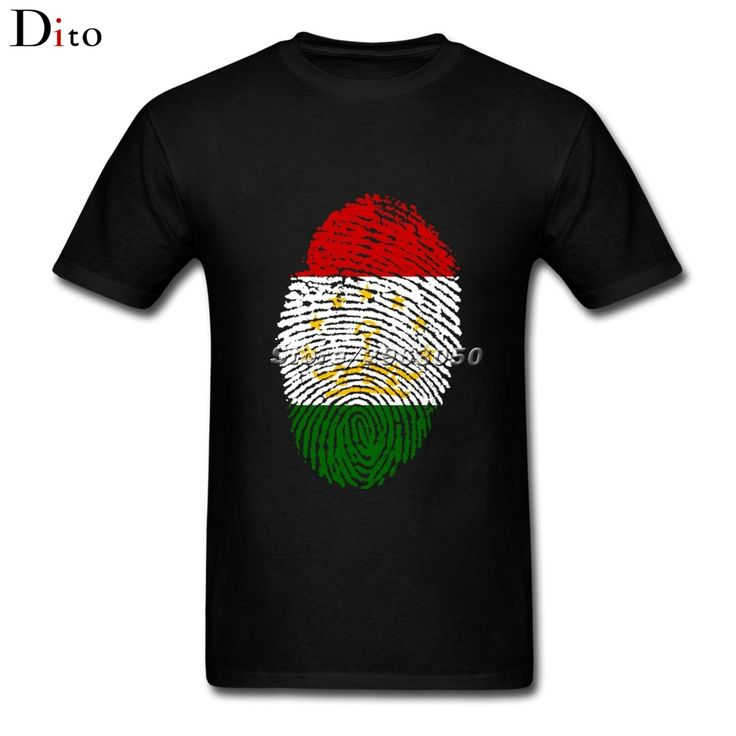 Tajikistan Flag Fingerprint Tees Shirt Men Male Great Custom Short Sleeve Valentine's 3XL Group  Camiseta #Affiliate