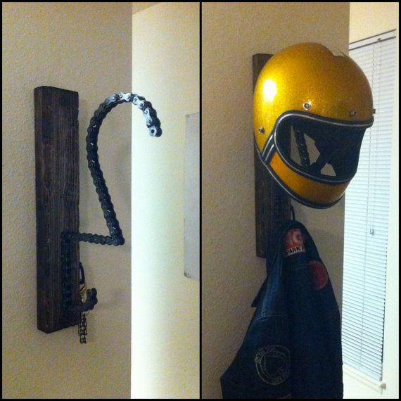 Genius! Helmet and jacket rack at http://www.etsy.com/listing/124607975/the-solo-motorcycle-helmet-key-and-coat