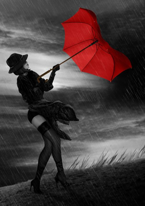Girl, Wind, Red and Rain