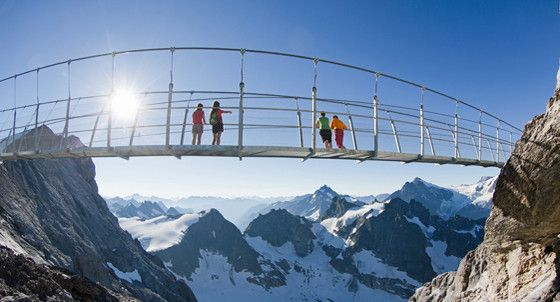 cliff walk, suspension bridge, adventure, glacier, TITLIS Engelberg