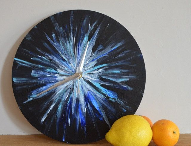 Abstract 'Star' Wall Clock, Black, Blue and white, non-ticking clock, practical art, statement piece, talking point, unusual handmade clock by ArtDecadance on Etsy