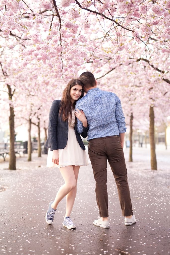 Cherry Blossom Pre-Wedding Shoot in Stockholm
