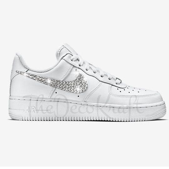 Custom Bling Womens Nike Air Force 1 07 White Swarovski Crystal Bling  Sneakers, Running Shoes