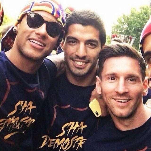 Messi Neymar and Suarez are best bros
