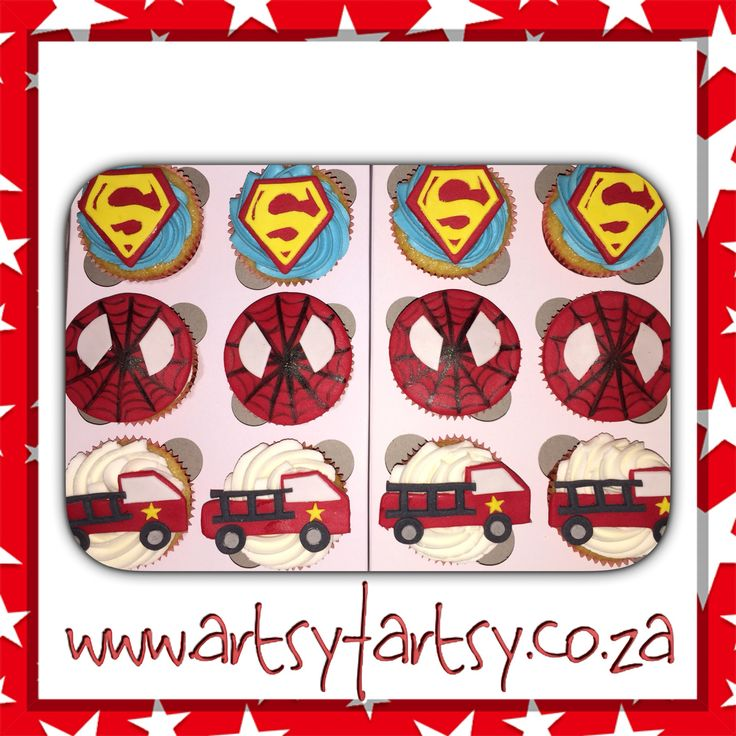 Superman, Spider-Man and Firetruck Cupcakes