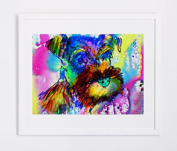 Schnauzer owner gift, dog Art print, Aqua marine Yellow pink, Abstract Schnauzer Dog watercolor painting,Schnauzer wall… #dogs #etsy #art