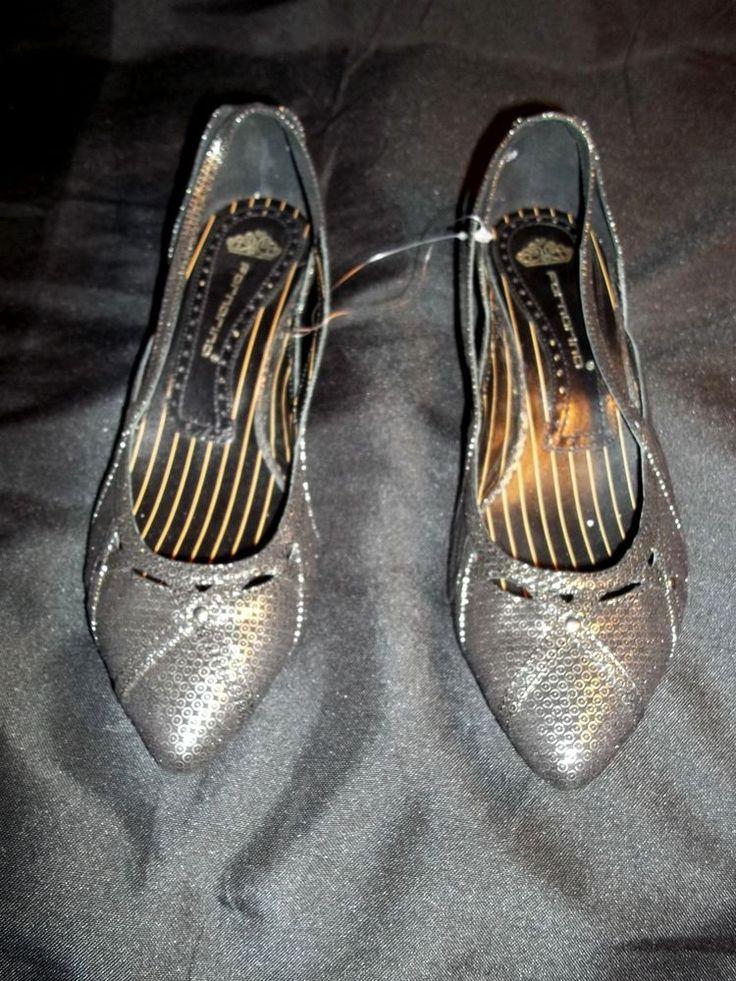 39 FORNARINA Shoes Women's Black & Silver Kitten Heels Pointed Toe Mary Jane #FORNARINA #WOMANLEATHERKITTENHEELSPOINTEDTOE