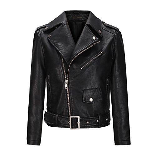 YoungSoul Blouson de motard femme - Perfecto court en similicuir avec ceinture - Veste en imitation cuir printemps automne Noir FR 34-36