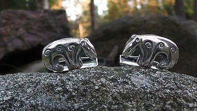 """Kaisaleena Mäkelä for Kalevala Koru,  Sterling silver """"Bear"""" cufflinks. #Finland"""