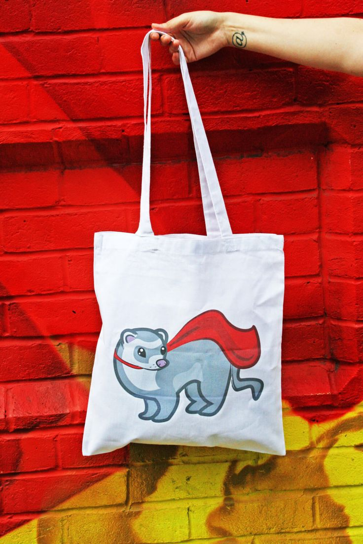 Super ferret tote bag, ferret bag, ferret gifts, ferret accessories, Cute tote bags by InnaboxDesign on Etsy https://www.etsy.com/listing/471893637/super-ferret-tote-bag-ferret-bag-ferret